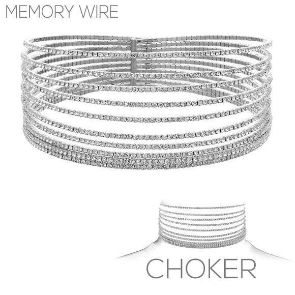 10 Line Silver Memory Wire Crystal Choker ( 16147 )