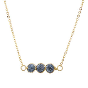 6mm Black Natural 3 Stone Necklace on Gold Chain ( 16625 )