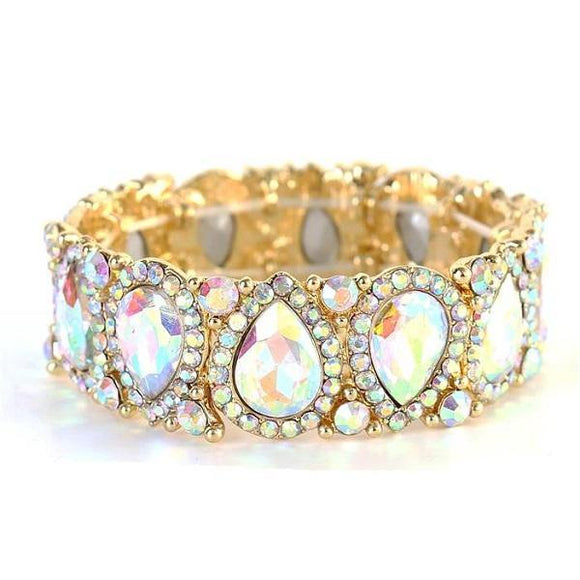 AB Teardrop Rhinestone Stretch Bracelet in Gold Setting ( 1094 )