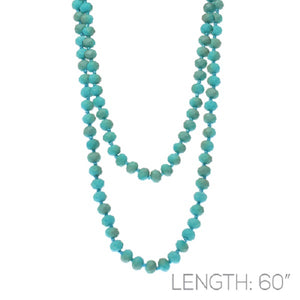 "Turquoise Color Two Tone 60"" 8mm Glass Beaded Knotted Necklace ( 16714 )"