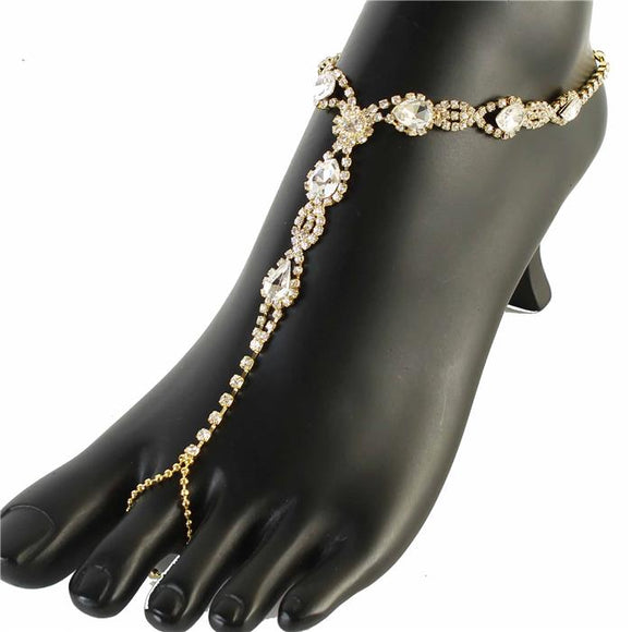 GOLD ANKLET WITH CLEAR STONES ( 0236 )