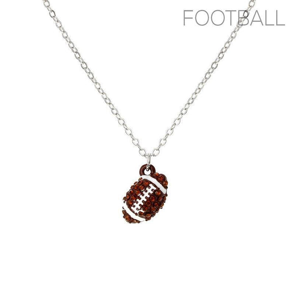 SILVER NECKLACE FOOTBALL PENDANT BROWN STONES ( 16922 STO )