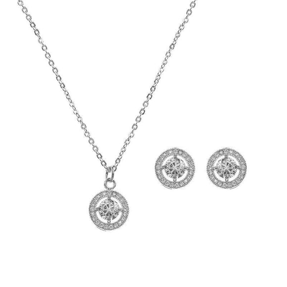 SILVER NECKLACE SET CUBIC ZIRCONIA CZ STONES ( 16927 )