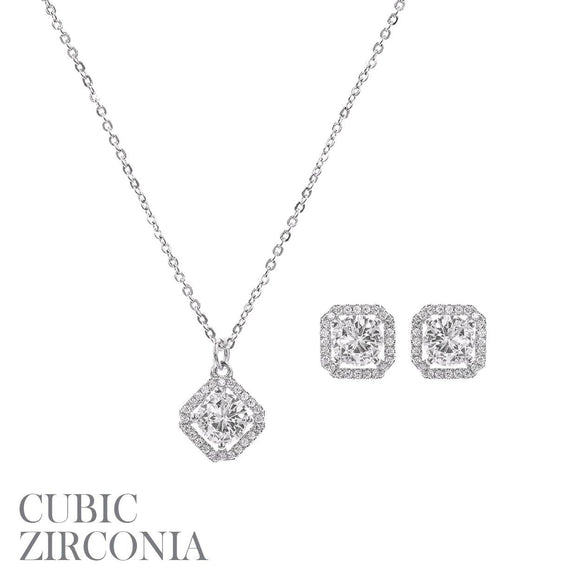 SILVER NECKLACE SET CUBIC ZIRCONIA STONES CZ ( 16932 S )