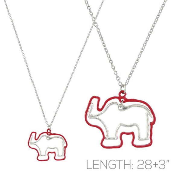 Silver Necklace with Red and Silver Cut Out Elephant Pendant ( 16977 )