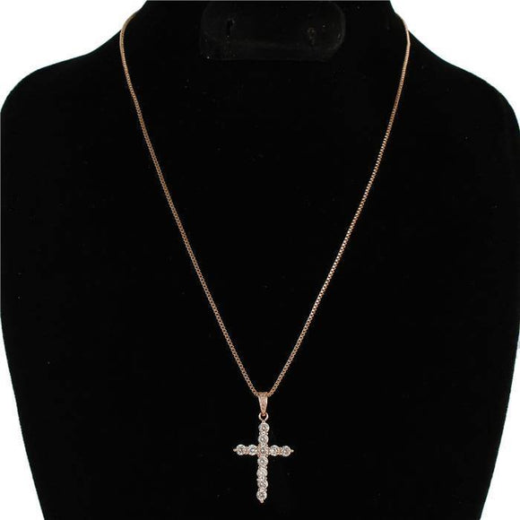 ROSE GOLD CLEAR CZ CUBIC ZIRCONIA CROSS CHARM NECKLACE ( 0017 RG )