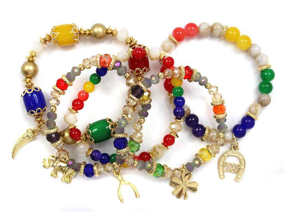 5 Layer MULTI COLOR Beaded Elephant Theme Charm Stretch Bracelets ( 5153 )