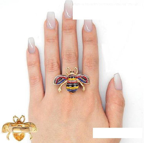 GOLD MULTI COLOR STONES BEE STRETCH RING ( 2238 ) - Ohmyjewelry.com