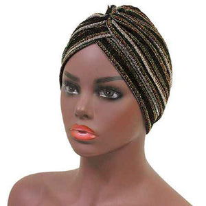 BLACK MULTI COLOR LINED TURBAN ( 2470   BK)