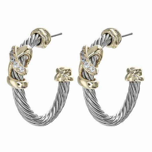 SILVER GOLD HOOP EARRINGS CLEAR CZ CUBIC ZIRCONIA STONES ( 8357 )