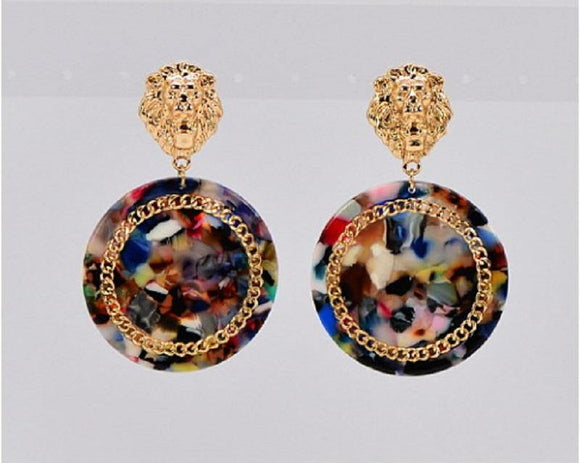 GOLD MULTI COLOR LION HEAD EARRINGS ( 3483 GLMLT )