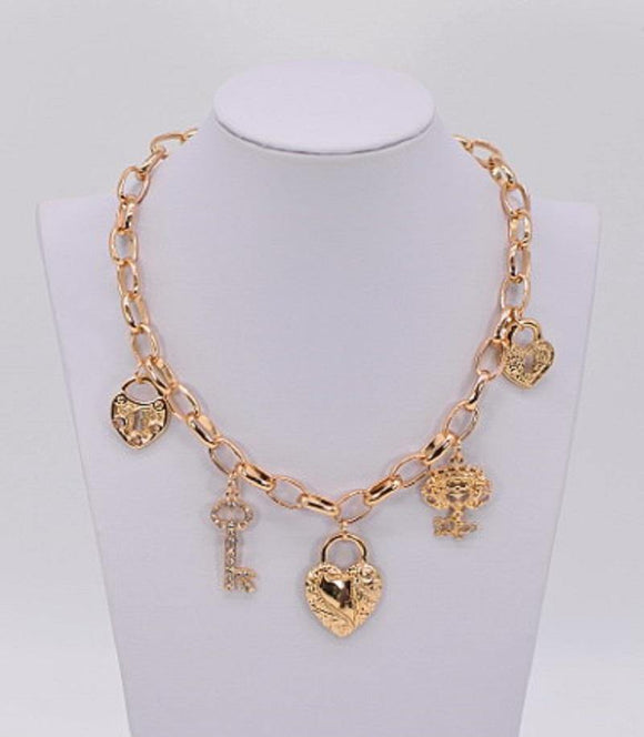 GOLD NECKLACE HEART KEY CHARMS ( 1058 )