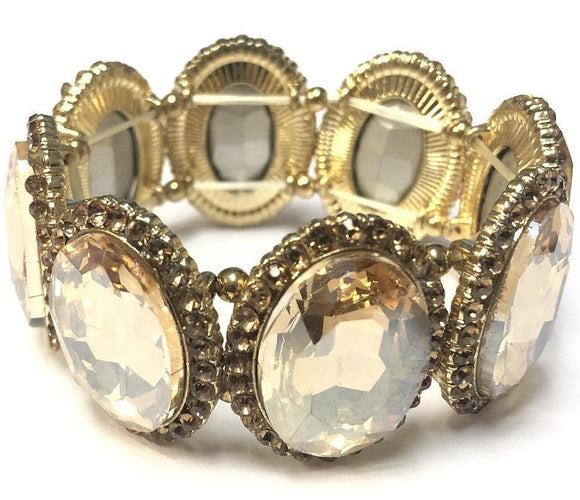 TOPAZ Oval Formal Stretch Bracelet with Gold Accents ( 0083 )