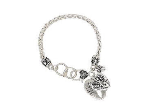 SILVER ANGEL BLESSING CHARM BRACELET WINGS ( 00064 WS )