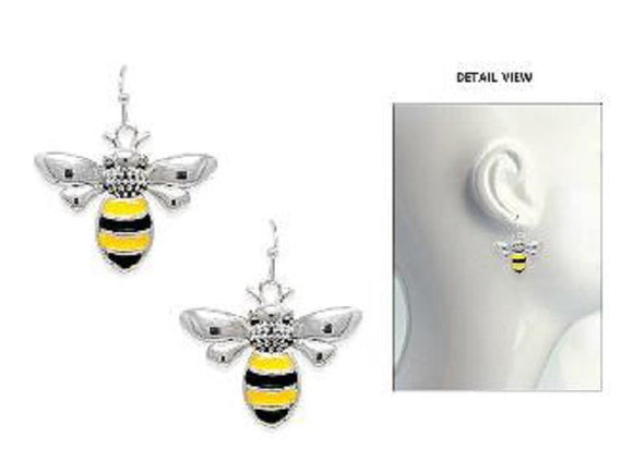 SILVER BEE EARRINGS YELLOW BLACK ( 3856 ASMX )