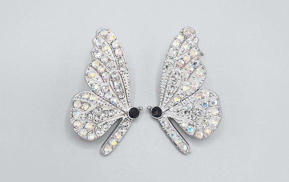 SILVER BUTTERFLY EARRINGS CLEAR AB STONES ( 2360 RHABCRY )