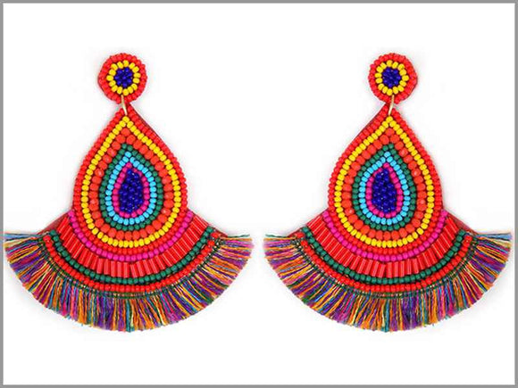 MULTI COLOR BEAD THREAD TASSEL EARRINGS ( 3243 )