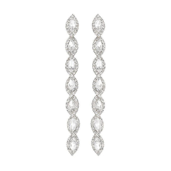 DANGLING SILVER EARRINGS CLEAR STONES ( 26665 CRS )