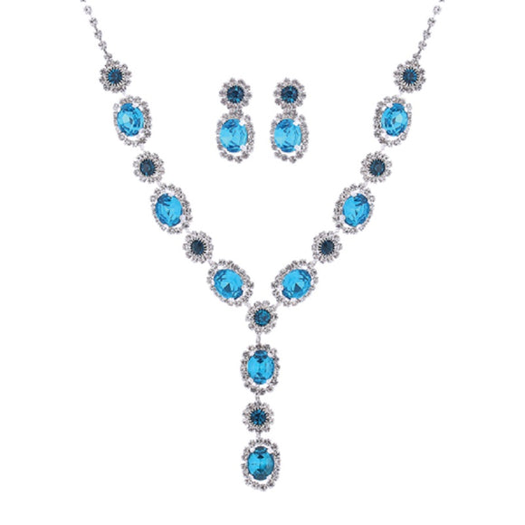 SILVER NECKLACE SET WITH CLEAR AND BLUE STONES ( 17044 )