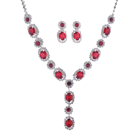 SILVER NECKLACE SET WITH CLEAR AND RED STONES ( 17044 )