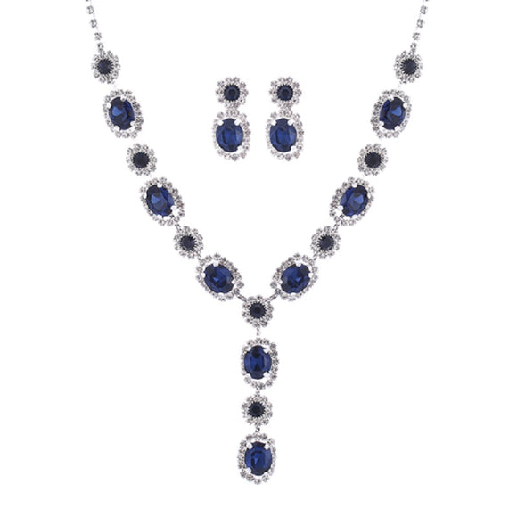 SILVER NECKLACE SET WITH CLEAR AND MONTANA STONES ( 17044 )