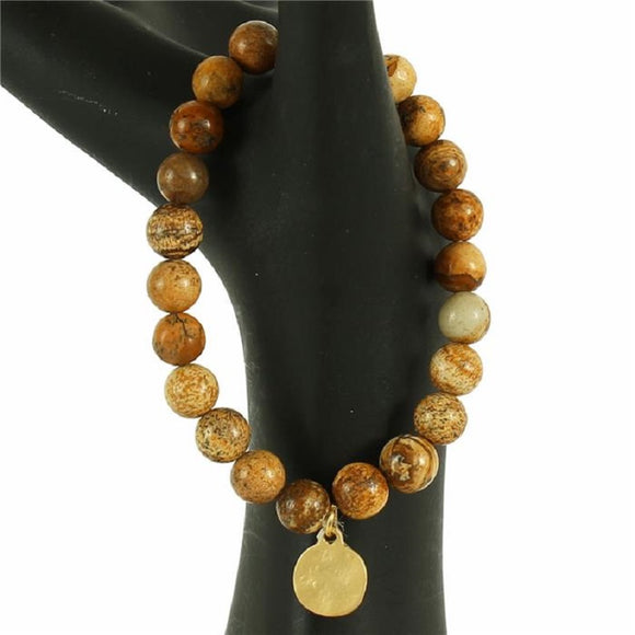 Gold Hammered Disc 8mm Round BROWN Beaded Stretch Bracelet ( 1003 )