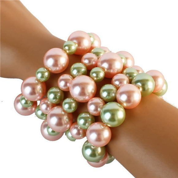5 LAYER PEARL STRETCH BRACELET ( 556 PKGR )