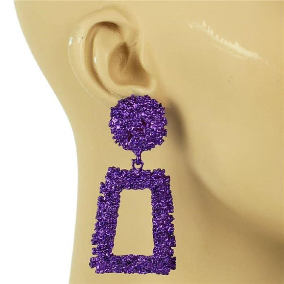 PURPLE METAL SQUARE DANGLING EARRING ( 7153 )