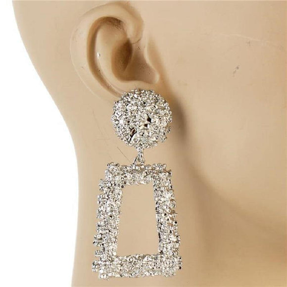 SILVER METAL SQUARE DANGLING EARRING ( 7153 )