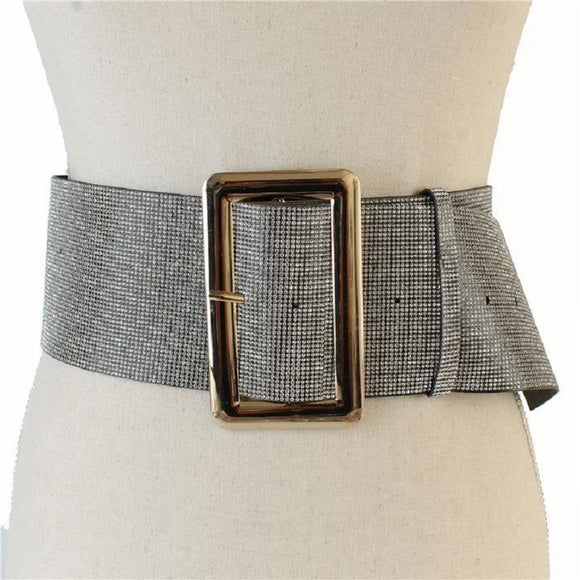 LARGE LEATHER BELT GOLD BUCKLE CLEAR STONES ( 2227 )