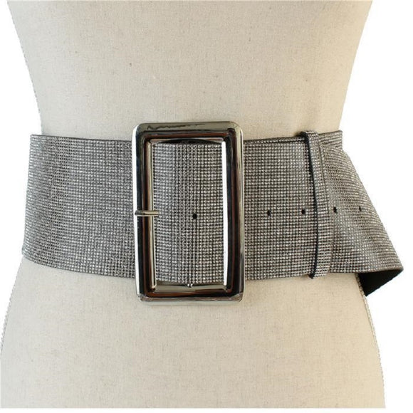 LARGE LEATHER BELT SILVER BUCKLE CLEAR STONES ( 2227 )