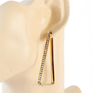 GOLD STAINLESS STEEL TRIANGLE HOOP EARRINGS ( 554 )