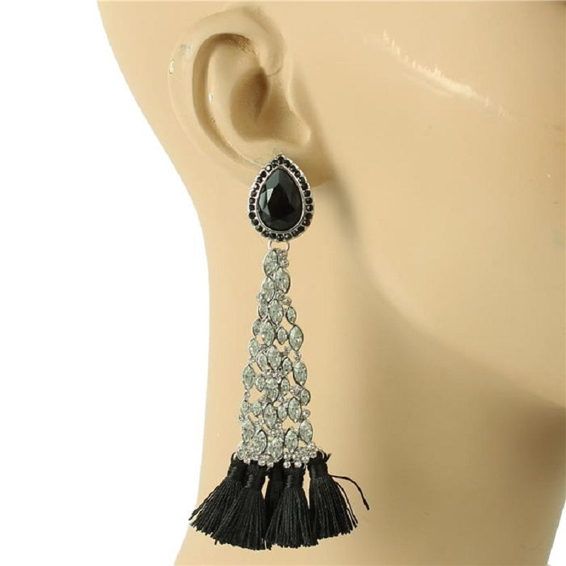 SILVER BLACK CRYSTAL TASSEL EARRINGS ( 6449 )