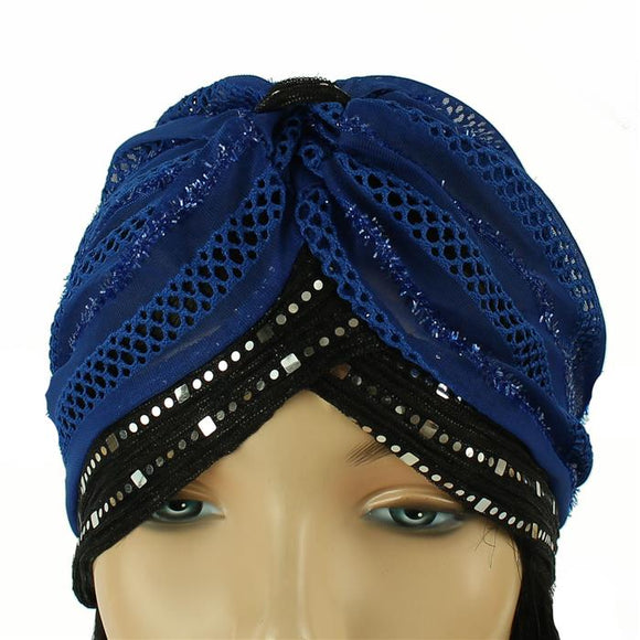 BLUE BLACK TURBAN MESH HEADBAND ( 2462 )