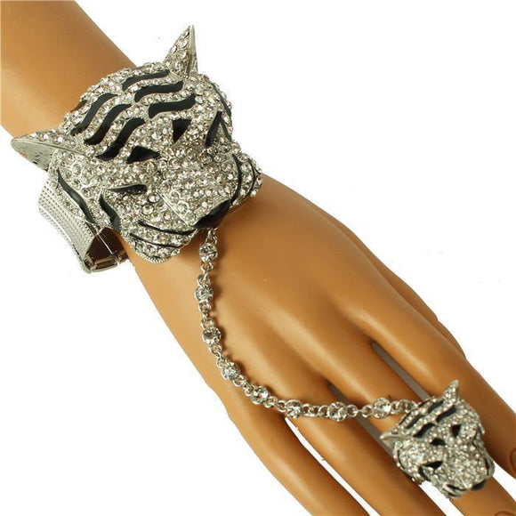SILVER TIGER STRETCH BRACELET WITH RING ( 376 3CL )