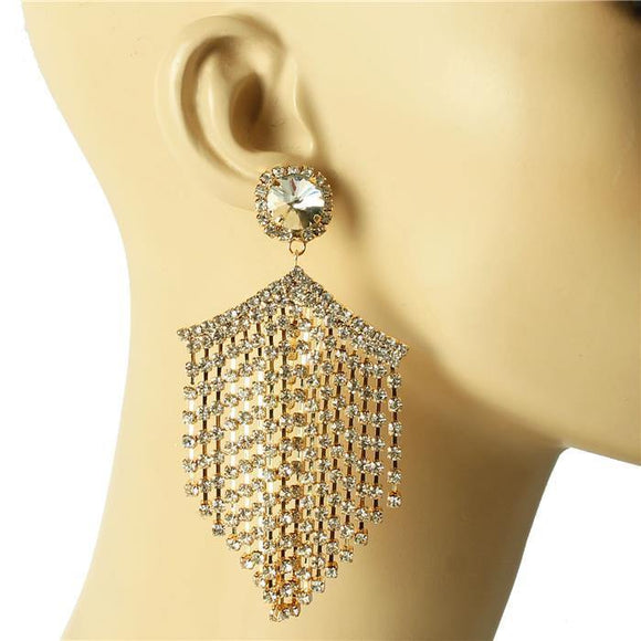 GOLD CHANDELIER EARRINGS CLEAR STONES ( 1378 )