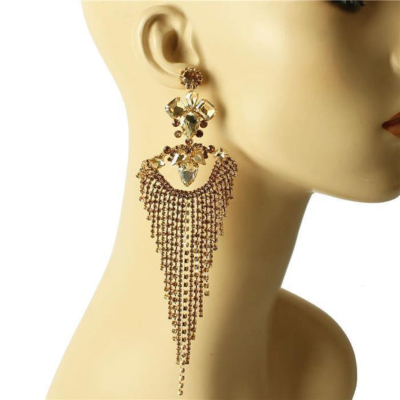 LARGE GOLD CHANDELIER EARRINGS TOPAZ STONES ( 1393 )