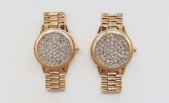 GOLD WATCH EARRINGS CLEAR STONES ( 1541 GD )