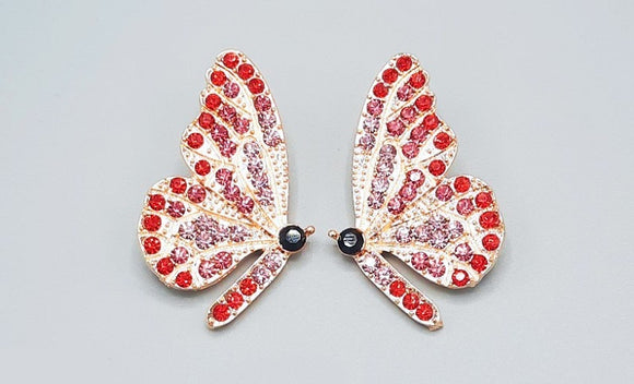 GOLD BUTTERFLY EARRINGS RED STONES ( 2360 GDRD )