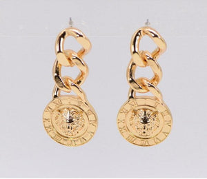GOLD DANGLING CHAIN LION HEAD EARRINGS ( 1410 GOL )