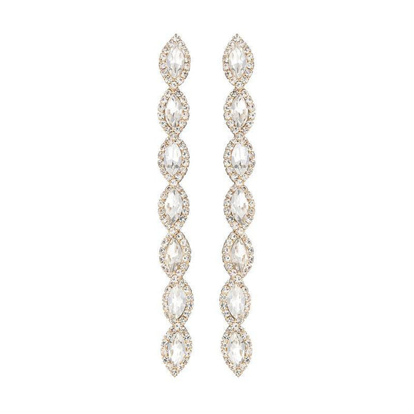 DANGLING GOLD EARRINGS CLEAR STONES ( 26665 CRG )