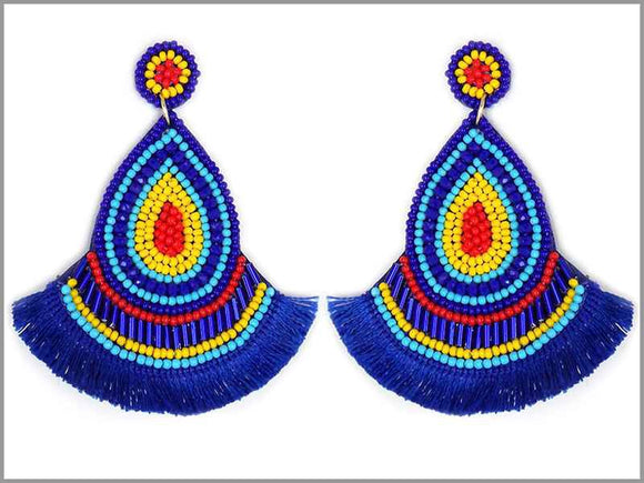 BLUE BEAD THREAD TASSEL EARRINGS ( 3243 )