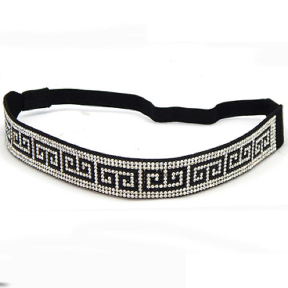 22mm Elastic Headband with Black CLEAR Patterned Crystals ( 3016 RDGRK )