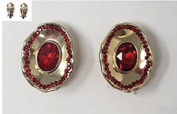 GOLD RED STONE METAL CLIP ON EARRINGS ( 20006 )