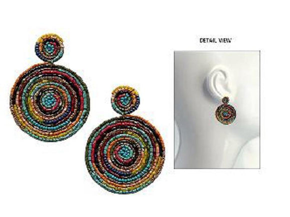 MULTI COLOR BEAD ROUND EARRINGS ( 3643 GMT )