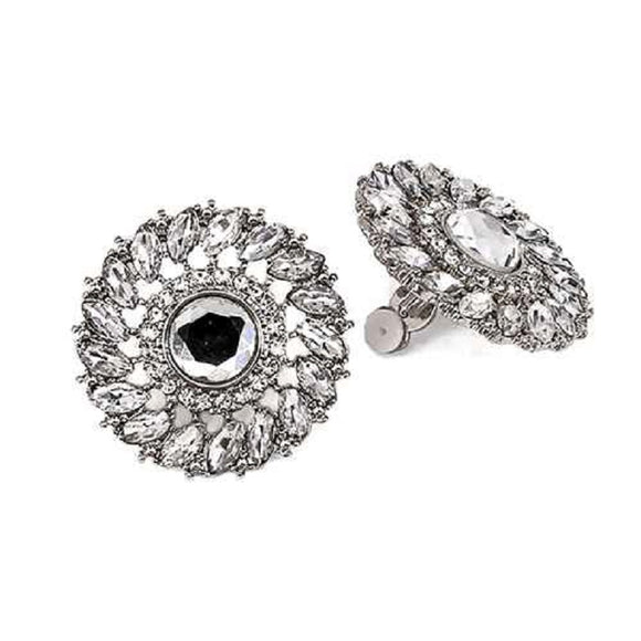 SILVER CIRCLE EARRINGS CLEAR STONES CLIP ON ( 3334 RDCLR )