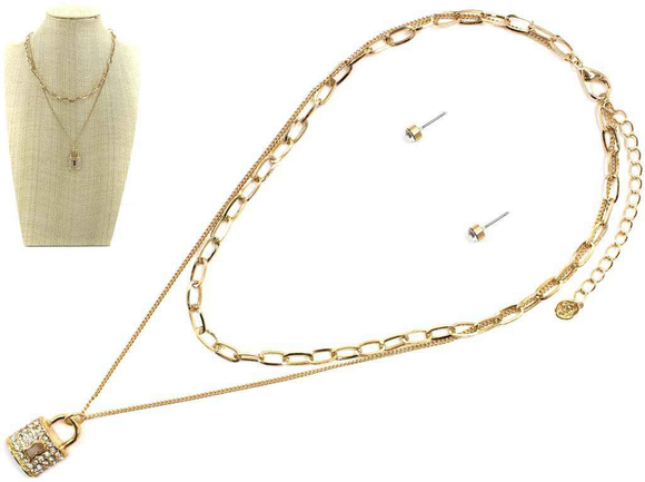 GOLD LAYERED NECKLACE CHAIN LOCK PENDANT ( 6828 )