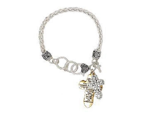 SILVER GOLD BRACELET CROSS CHARMS ( 00063 TT )