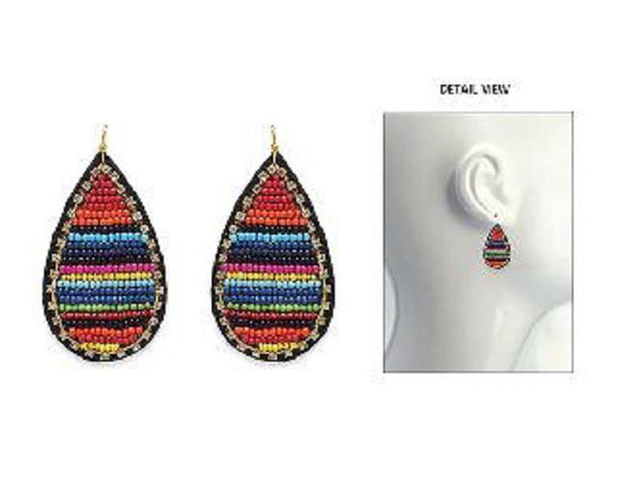 DROP EARRINGS MULTI COLOR BEADS ( 3618 GMT )