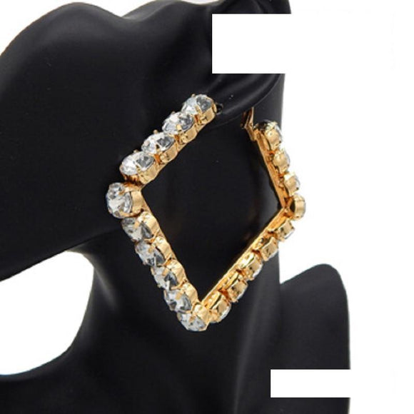70mm GOLD SQUARE EARRINGS CLEAR STONES ( 3075 GDCLR )